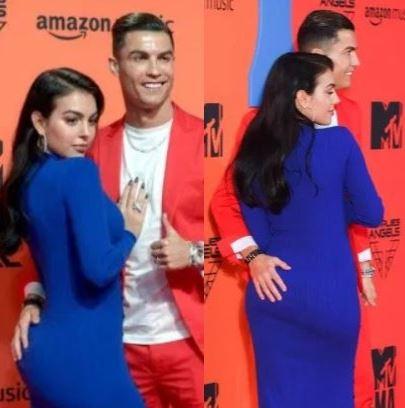 Cristiano Ronaldo grabs his girlfriend