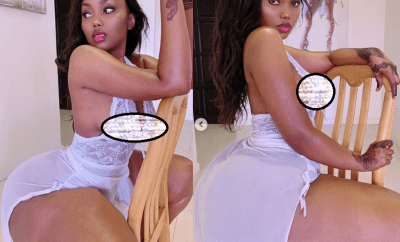 Endowed model Sanchi showcases her massive behind in see-through lingerie?(Photos)
