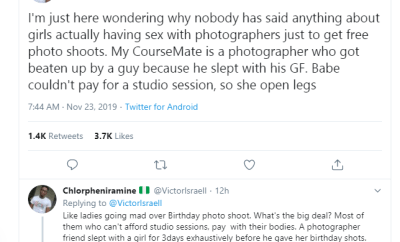 Twitter user alleges that some girls are sleeping with photographers for free photoshoot