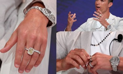 Cristiano Ronaldo wears ?630k of jewellery on one hand including Rolex