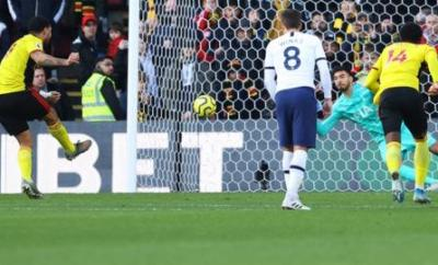 Troy Deeney misses a penalty for Watford against Tottenham