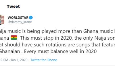 Naija music is being played more than Ghana music in Ghana, this must stop in 2020 - Dammy Krane Tweets