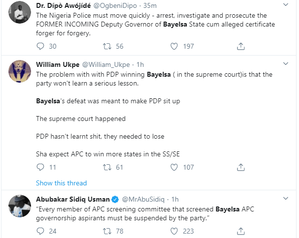 Nigerians react to Supreme Court judgement which sacked David Lyon as winner of Bayelsa Governorship election