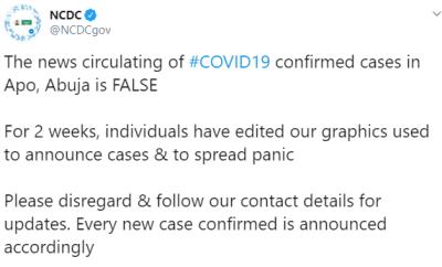 No case of Coronavirus in Abuja- NCDC