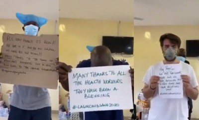 Coronavirus patients receiving treatment in Lagos hospital appeal to Nigerians to stay at home (video)