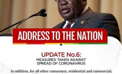 COVID-19 pandemic:  Ghanaian President announces 50% cut from electricity bills for all citizens