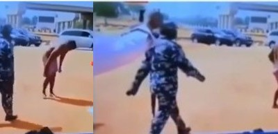 Coronavirus lockdown: Taxi driver strips naked after his vehicle was impounded by security operatives in Abuja (videos)