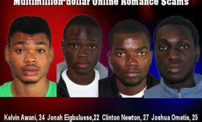 Four Nigerian students declared wanted in Canada for $2 million online romance scam