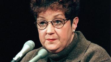 This 21 January, 1998, file photo shows Norma McCorvey, the woman at the centre of the US Supreme Court ruling on abortion, testifying before a US Senate Judiciary Committee subcommittee hearing