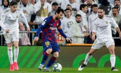 Barcelona's Lionel Messi in action against Real Madrid