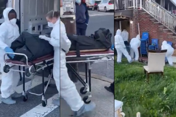 Body of Nigerian woman who died of COVID-19 in Brooklyn, New York,  is removed from her home amid tears(video)