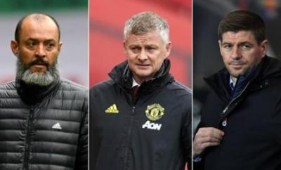 Wolves manager Nuno Espirito Santo (left), Manchester United manager Ole Gunnar Solskjaer (centre) and Rangers boss Steven Gerrard