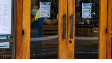 A worker cleans inside a restaurant in Glendale, California. Photo: June 2020