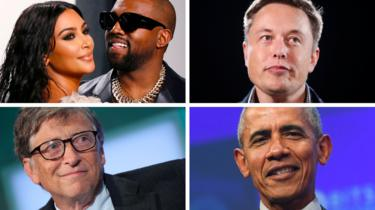 Kim Kardashian West, Kayne West, Elon Musk, Bill Gates and Barack Obama