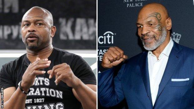 Roy Jones Jr (left) and Mike Tyson