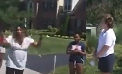 Outrage as White woman calls cops on Black boy, 8, for riding a toy dirt bike (video)