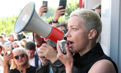 Maria Kolesnikova addressing demonstrators in August
