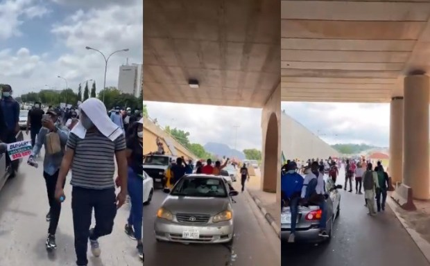 Abuja #EndSARS protesters defy order, continue to stage protest (photos/video)