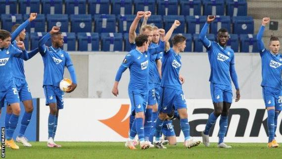 Hoffenheim players raise their fists during their 5-0 win over Slovan Liberec in the Europa League on Thursday