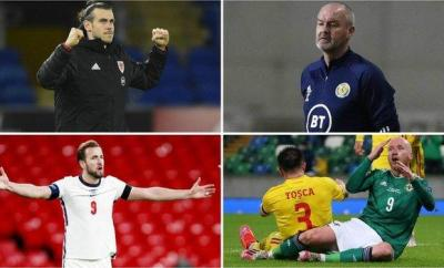 Gareth Bale, Steve Clarke, Harry Kane and Liam Boyce