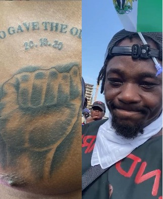 #EndSARS protester tattoos date of Lekki tollgate shooting on his chest (photo)