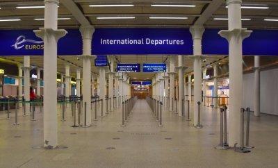 Empty Eurostar departure hall at St Pancras, London, on 25 November 2020