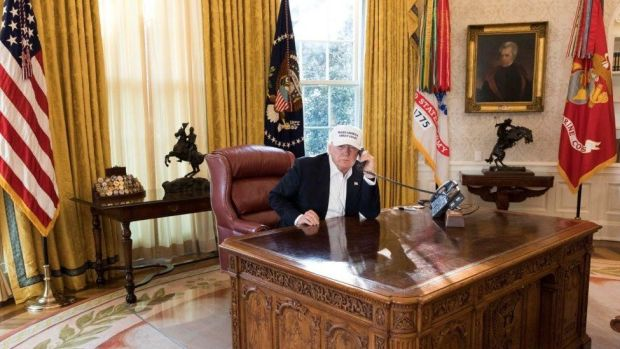Trump in the Oval Office on 20 January 2018