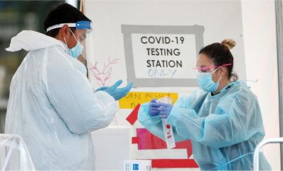 Nurses at Otara Town Centre Covid Testing centre prepare to test the public on August 26, 2020 in Auckland, New Zealand.
