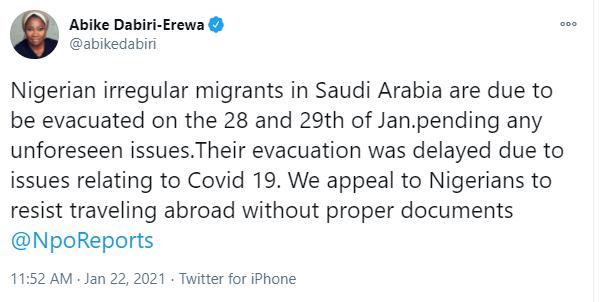 Nigerian irregular migrants in Saudi Arabia to be evacuated on January 28 and 29 - Abike Dabiri-Erewa