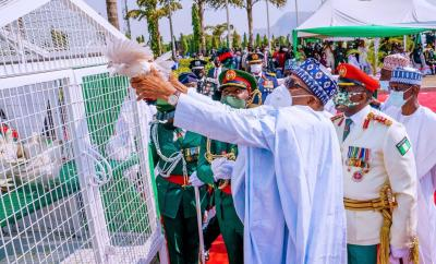 Armed forces day: Femi Adesina explains why the Pigeons refused to fly after they were released by President Buhari
