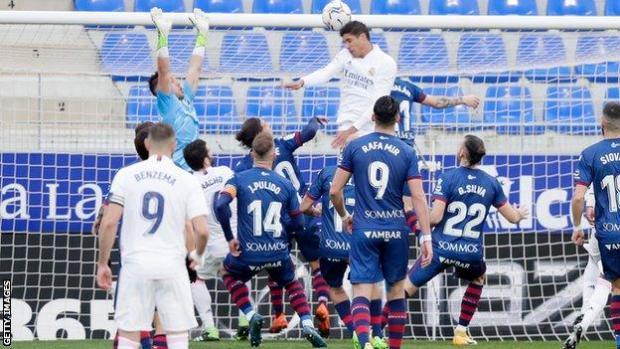 Raphael Varane equalises for Real Madrid against Huesca