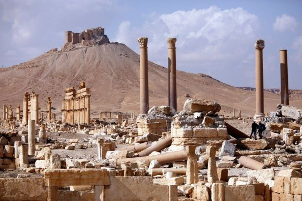 A picture taken on March 4, 2017 shows the damaged site of the ancient city of Palmyra in central Syria.