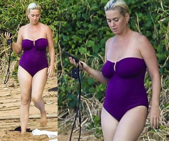 New mom, Katy Perry flaunts her trim post-pregnancy figure while vacationing in Hawaii with fiance Orlando Bloom (photos)