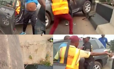 Watch the moment an erring driver trying to escape arrest from LASTMA officials hit police officer off a bridge in Lagos (video)