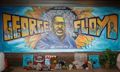 A view of the George Floyd mural at 38th Street and Chicago Avenue a day before opening statements in the trial of former police officer Derek Chauvin, who is facing murder charges in the death of George Floyd, in Minneapolis, Minnesota, U.S., March 28, 2021.