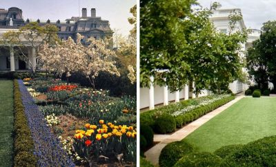 White House Rose Garden in April 1963 (L), photo by Bettmann via Getty Images; the new White House Rose Garden, designed by First Lady Melania Trump (R) in August 2020 - see note re use