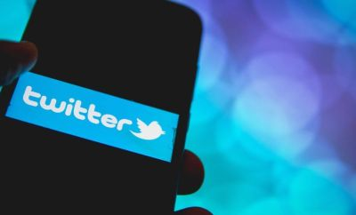 Twitter banner on mobile phone