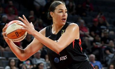 Liz Cambage playing for the Las Vegas Aces in August 2019