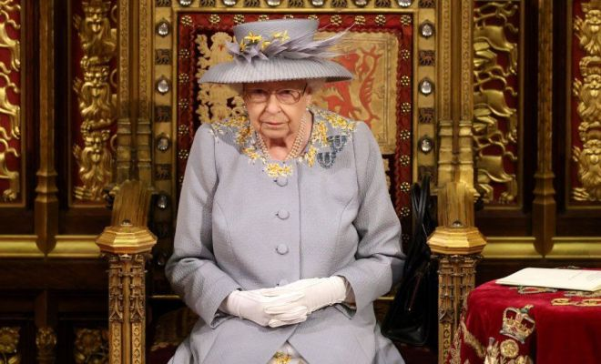 The Queen in the Lord's Chamber ahead of the Queen's speech