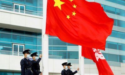 Chinese and Hong Kong flag