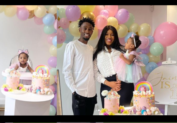 Super Eagles midfielder, Wilfred Ndidi and wife Dinma celebrate their daughter on her 1st birthday (photos)