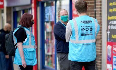 Kirklees coronavirus response team members talk to the public in Dewsbury town centre on May 27, 2021 in Dewsbury, England.