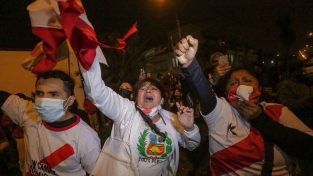 Supporters of Keiko Fujimori celebrated early results