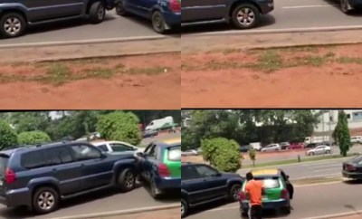 Taxi driver and SUV driver clash on the road in Abuja (video)