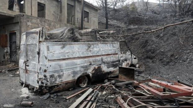A burnt out house and a destroyed car in the Larnaca region, Cyprus. Photo: 4 July 2021