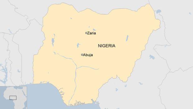 A map showing Zaria in Nigeria