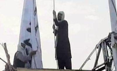 A social media image showing a man raising a Taliban flag