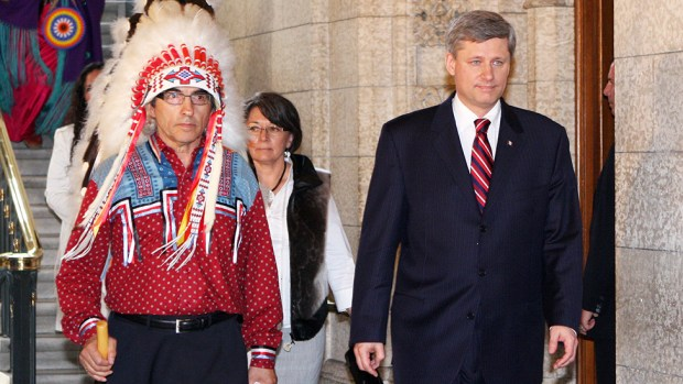Prime Minister Harper with Phil Fontaine, a Canadian Indigenous leader, in 2008