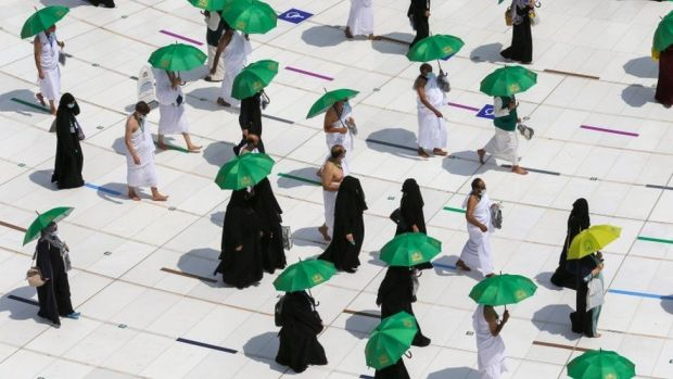 Muslim pilgrims perform Tawaf around Kaaba in the Grand Mosque in the holy city of Mecca, Saudi Arabia
