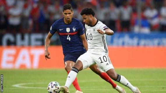 Raphael Varane in action for France against Germany